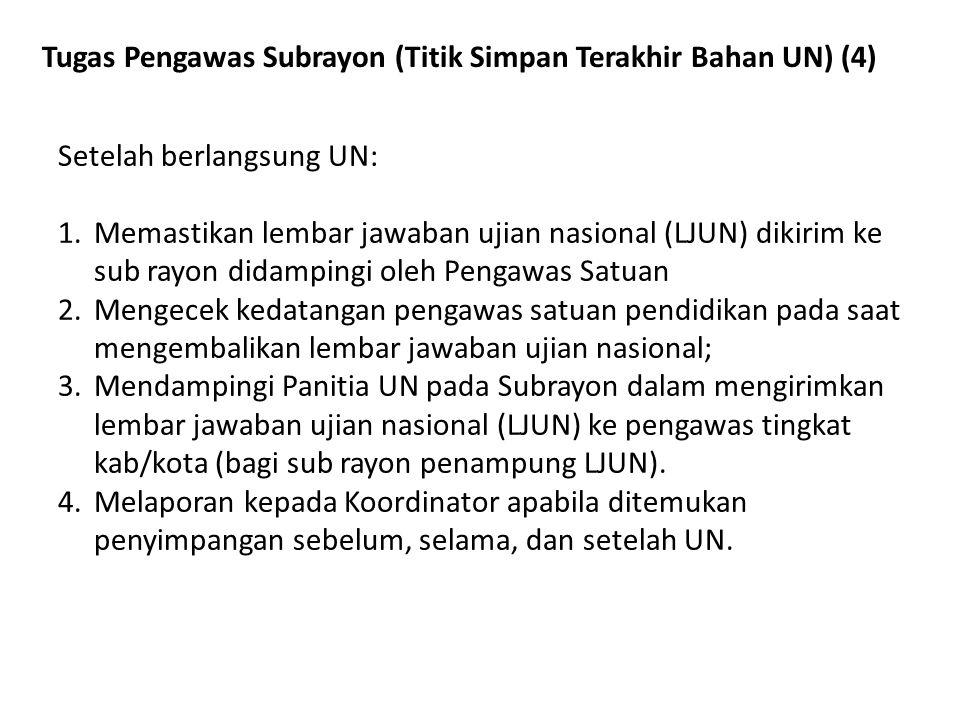 Tugas Pengawas Subrayon (Titik Simpan Terakhir Bahan UN) (4) Setelah berlangsung UN: 1.Memastikan lembar jawaban ujian nasional (LJUN) dikirim ke sub