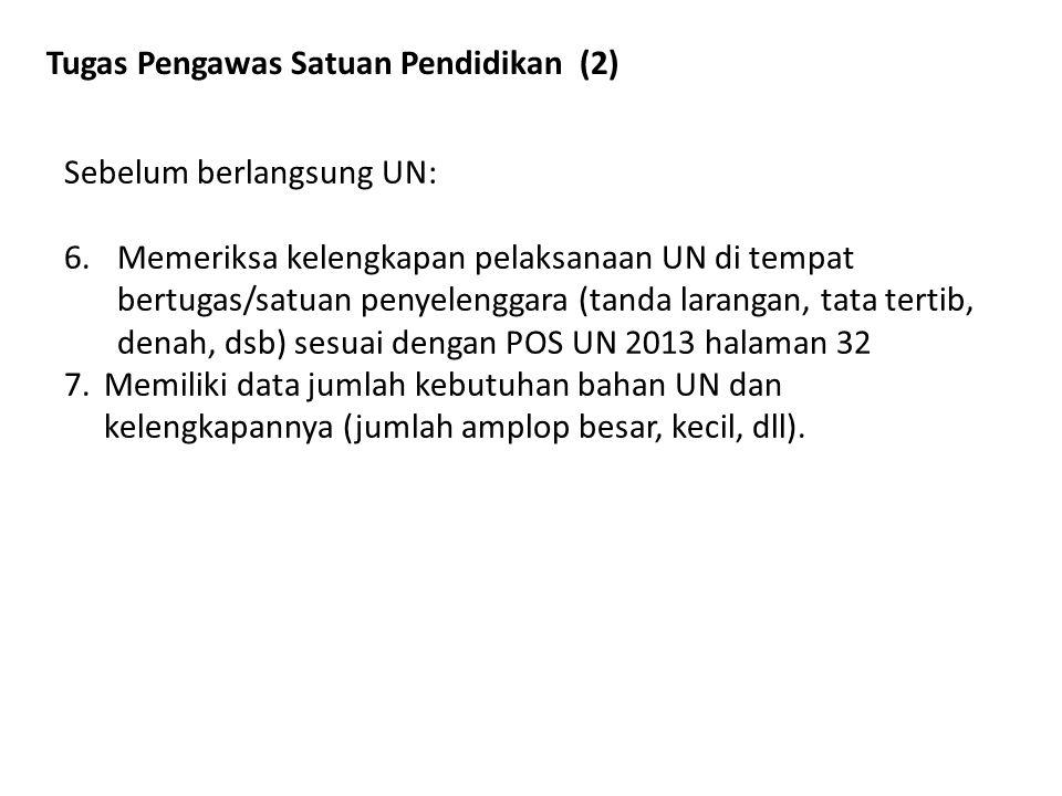 Tugas Pengawas Satuan Pendidikan (2) Sebelum berlangsung UN: 6.Memeriksa kelengkapan pelaksanaan UN di tempat bertugas/satuan penyelenggara (tanda lar
