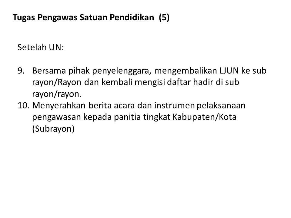 Tugas Pengawas Satuan Pendidikan (5) Setelah UN: 9.Bersama pihak penyelenggara, mengembalikan LJUN ke sub rayon/Rayon dan kembali mengisi daftar hadir