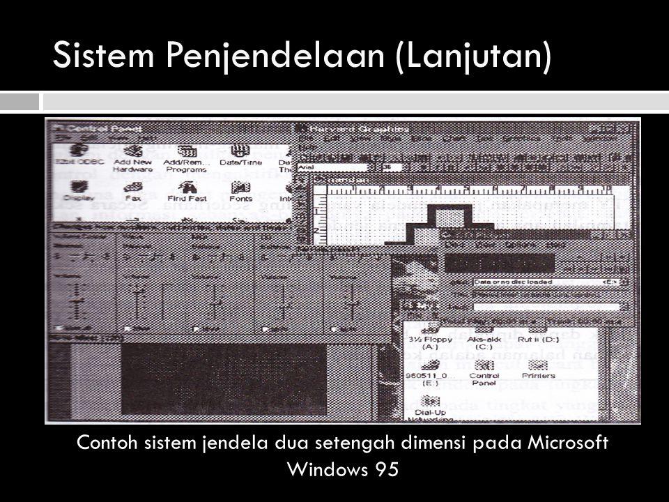 Sistem Penjendelaan (Lanjutan) Contoh sistem jendela dua setengah dimensi pada Microsoft Windows 95