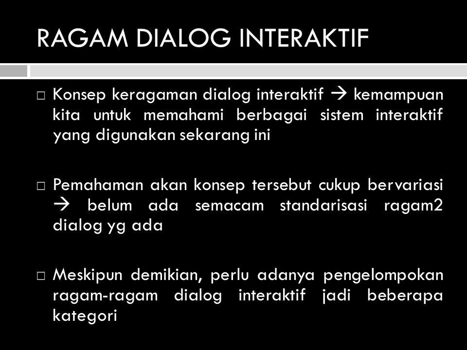 RAGAM DIALOG INTERAKTIF (Lanjutan)  Pengelompokan ini tidak menutup kemungkinan adanya saling tumpang tindih antara satu kategori dengan kategori lainnya  9 kategori ragam dialog interaktif: 1.