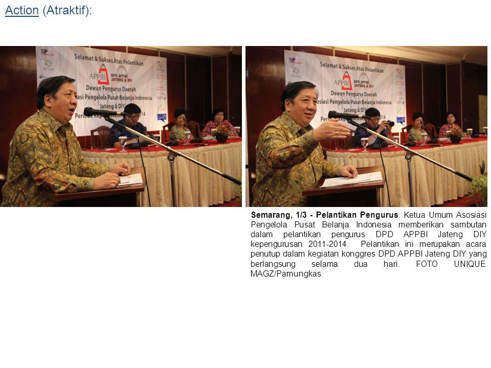 Semarang, 1/3 - Pelantikan Pengurus. Ketua Umum Asosiasi Pengelola Pusat Belanja Indonesia memberikan sambutan dalam pelantikan pengurus DPD APPBI Jat