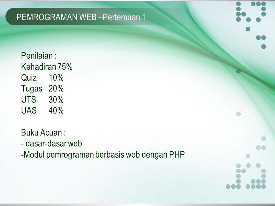 PEMROGRAMAN WEB –Pertemuan 1 Penilaian : Kehadiran 75% Quiz 10% Tugas 20% UTS30% UAS40% Buku Acuan : - dasar-dasar web -Modul pemrograman berbasis web