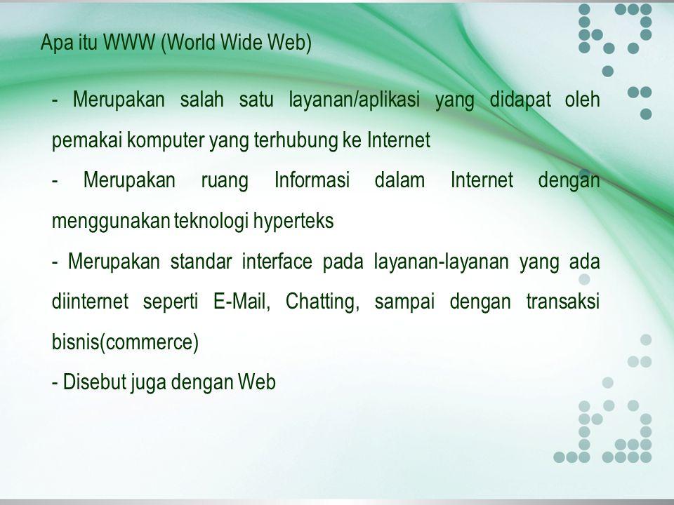 Apa itu WWW (World Wide Web) menggunakan HTTP (HyperText Transfer Protokol) sebagai protokol komunikasi dan menyampaikan informasi berbasis web kepada pemakai dalam bentuk HTML (HyperText Markup Language).