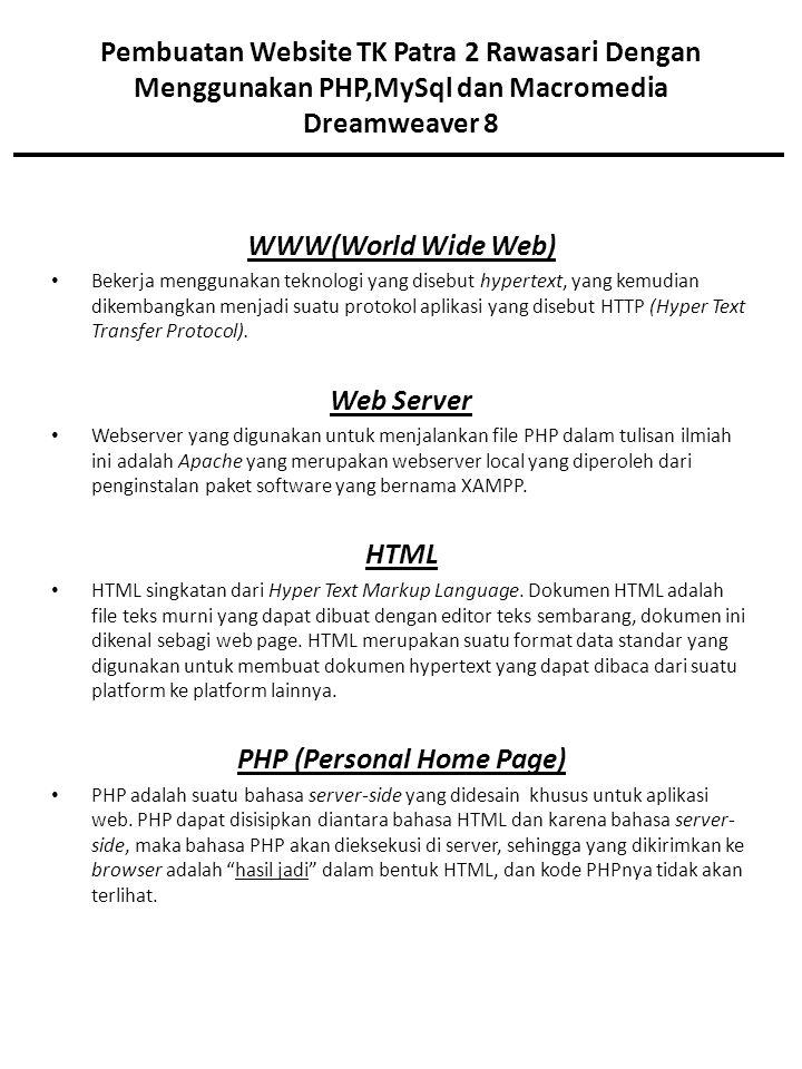 Pembuatan Website TK Patra 2 Rawasari Dengan Menggunakan PHP,MySql dan Macromedia Dreamweaver 8 WWW(World Wide Web) Bekerja menggunakan teknologi yang disebut hypertext, yang kemudian dikembangkan menjadi suatu protokol aplikasi yang disebut HTTP (Hyper Text Transfer Protocol).