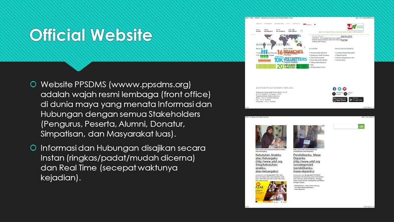 Official Website  Website PPSDMS (wwww.ppsdms.org) adalah wajah resmi lembaga (front office) di dunia maya yang menata Informasi dan Hubungan dengan