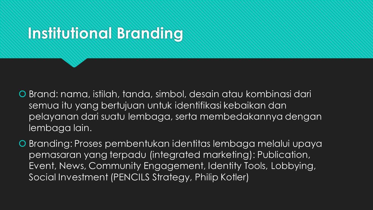 Institutional Branding  Brand: nama, istilah, tanda, simbol, desain atau kombinasi dari semua itu yang bertujuan untuk identifikasi kebaikan dan pela