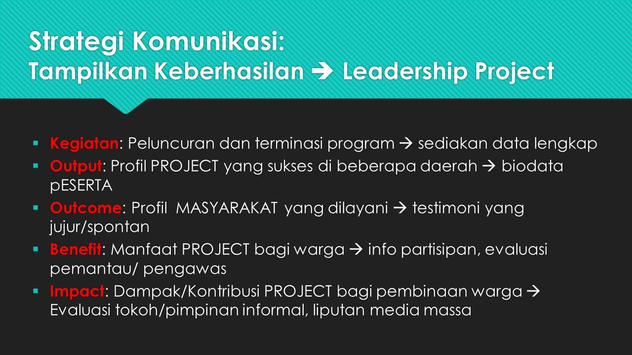 Strategi Komunikasi: Tampilkan Keberhasilan  Leadership Project  Kegiatan : Peluncuran dan terminasi program  sediakan data lengkap  Output : Prof