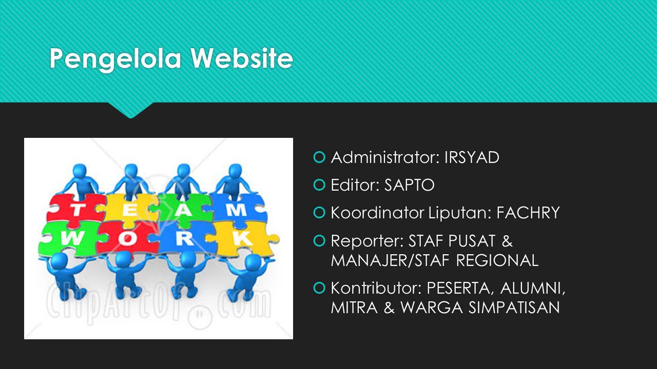 Pengelola Website  Administrator: IRSYAD  Editor: SAPTO  Koordinator Liputan: FACHRY  Reporter: STAF PUSAT & MANAJER/STAF REGIONAL  Kontributor: