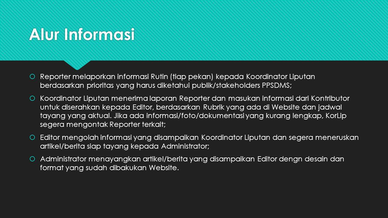Alur Informasi  Reporter melaporkan informasi Rutin (tiap pekan) kepada Koordinator Liputan berdasarkan prioritas yang harus diketahui publik/stakeho