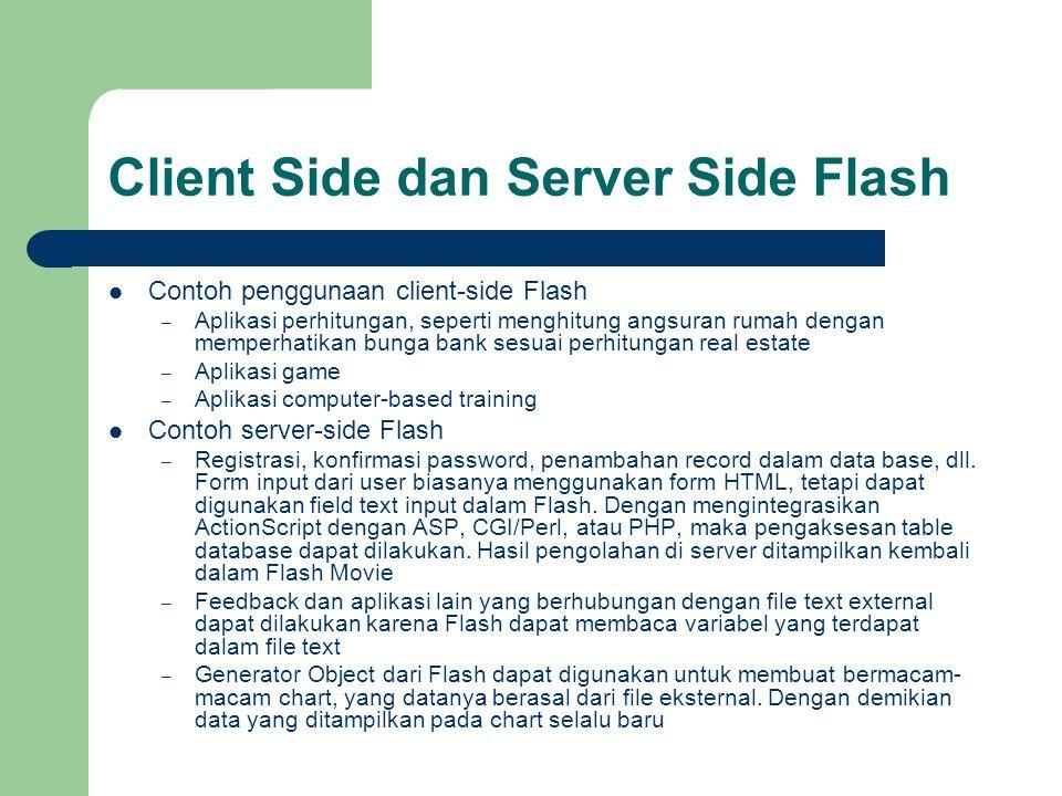 Client Side dan Server Side Flash Contoh penggunaan client-side Flash – Aplikasi perhitungan, seperti menghitung angsuran rumah dengan memperhatikan b