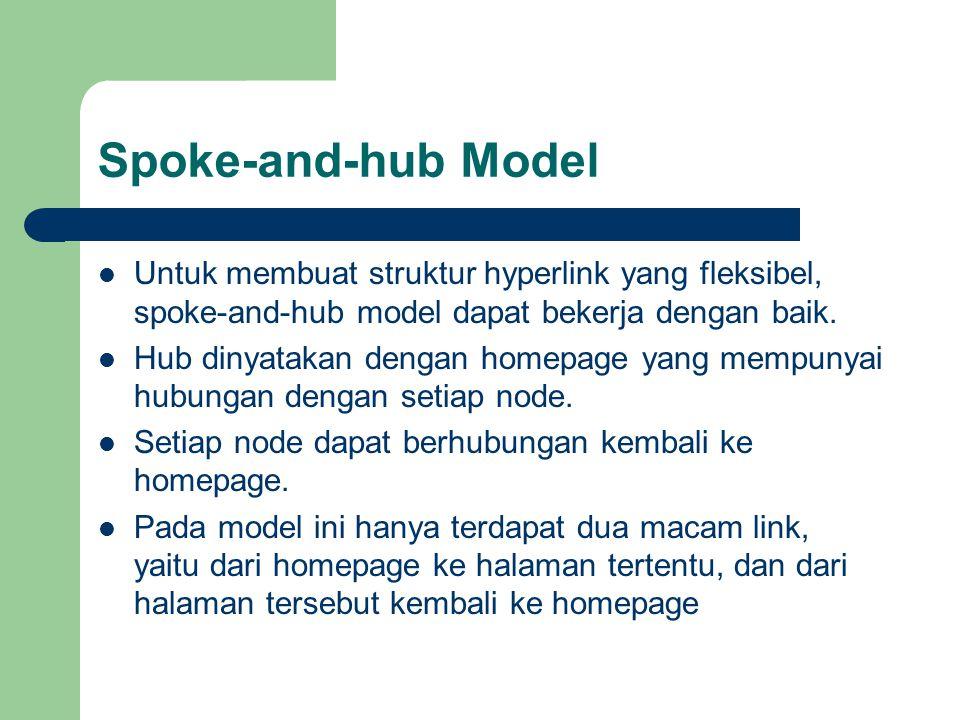 Spoke-and-hub Model Untuk membuat struktur hyperlink yang fleksibel, spoke-and-hub model dapat bekerja dengan baik. Hub dinyatakan dengan homepage yan