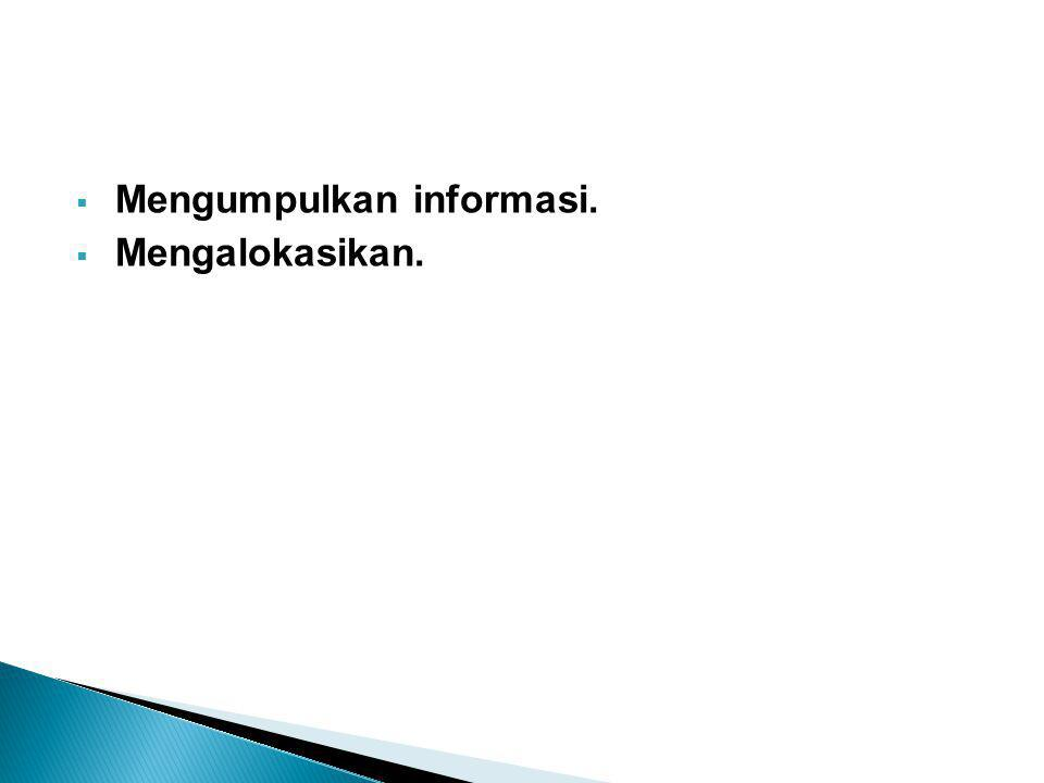  Mengumpulkan informasi.  Mengalokasikan.