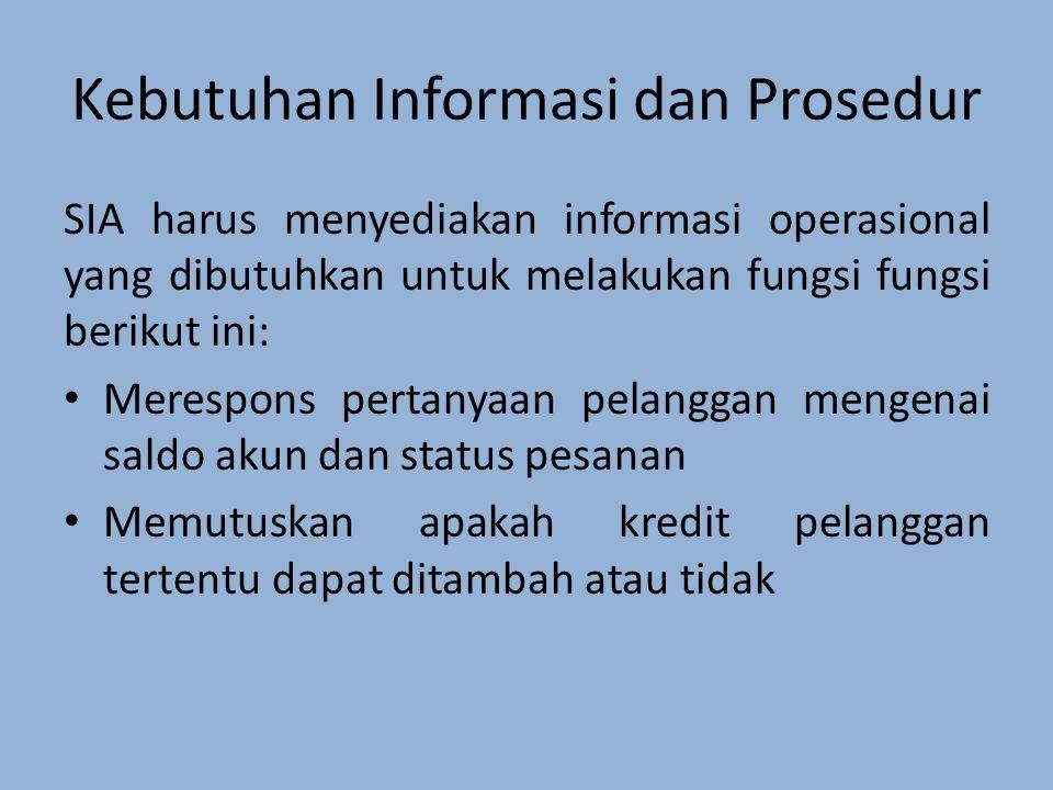 Kebutuhan Informasi dan Prosedur SIA harus menyediakan informasi operasional yang dibutuhkan untuk melakukan fungsi fungsi berikut ini: Merespons pertanyaan pelanggan mengenai saldo akun dan status pesanan Memutuskan apakah kredit pelanggan tertentu dapat ditambah atau tidak