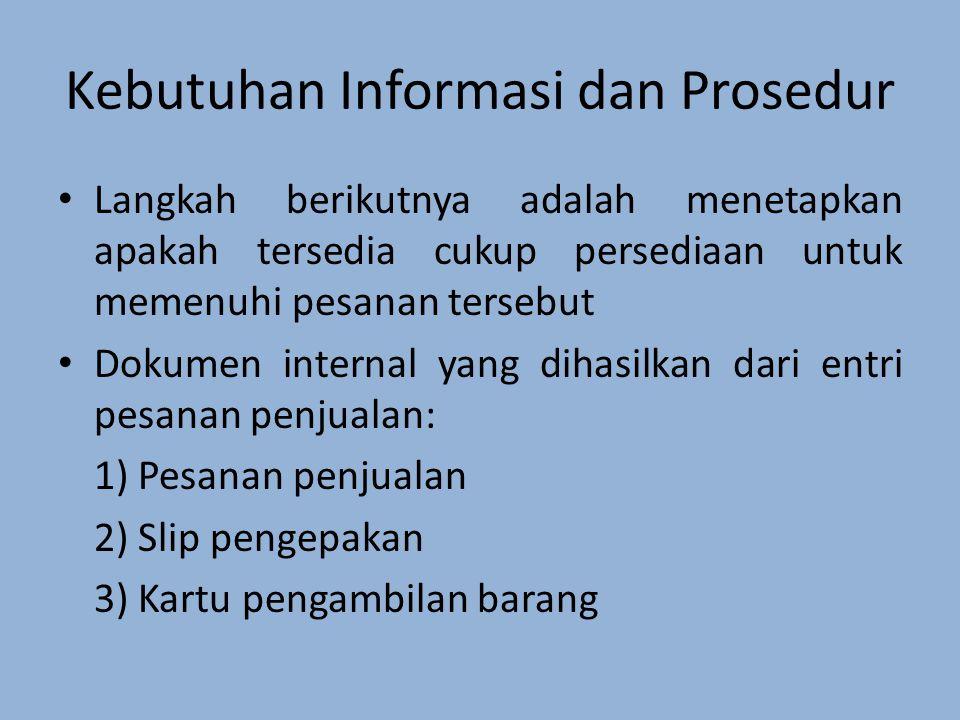 Langkah berikutnya adalah menetapkan apakah tersedia cukup persediaan untuk memenuhi pesanan tersebut Dokumen internal yang dihasilkan dari entri pesanan penjualan: 1) Pesanan penjualan 2) Slip pengepakan 3) Kartu pengambilan barang Kebutuhan Informasi dan Prosedur