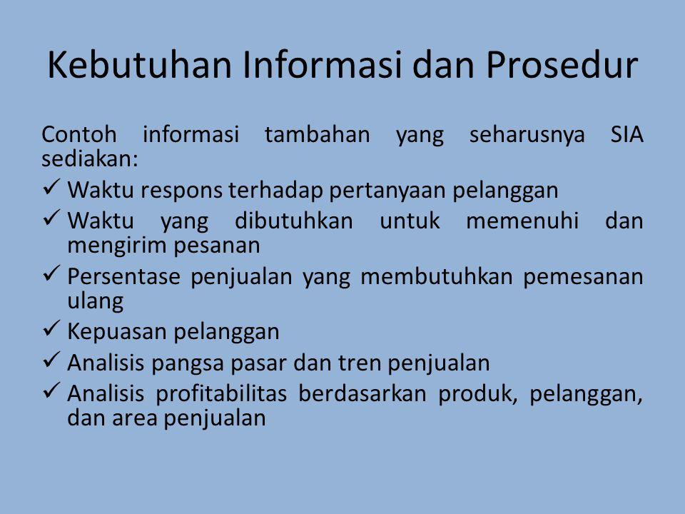 Kebutuhan Informasi dan Prosedur Contoh informasi tambahan yang seharusnya SIA sediakan: Waktu respons terhadap pertanyaan pelanggan Waktu yang dibutuhkan untuk memenuhi dan mengirim pesanan Persentase penjualan yang membutuhkan pemesanan ulang Kepuasan pelanggan Analisis pangsa pasar dan tren penjualan Analisis profitabilitas berdasarkan produk, pelanggan, dan area penjualan