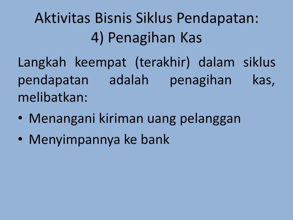 Aktivitas Bisnis Siklus Pendapatan: 4) Penagihan Kas Langkah keempat (terakhir) dalam siklus pendapatan adalah penagihan kas, melibatkan: Menangani kiriman uang pelanggan Menyimpannya ke bank
