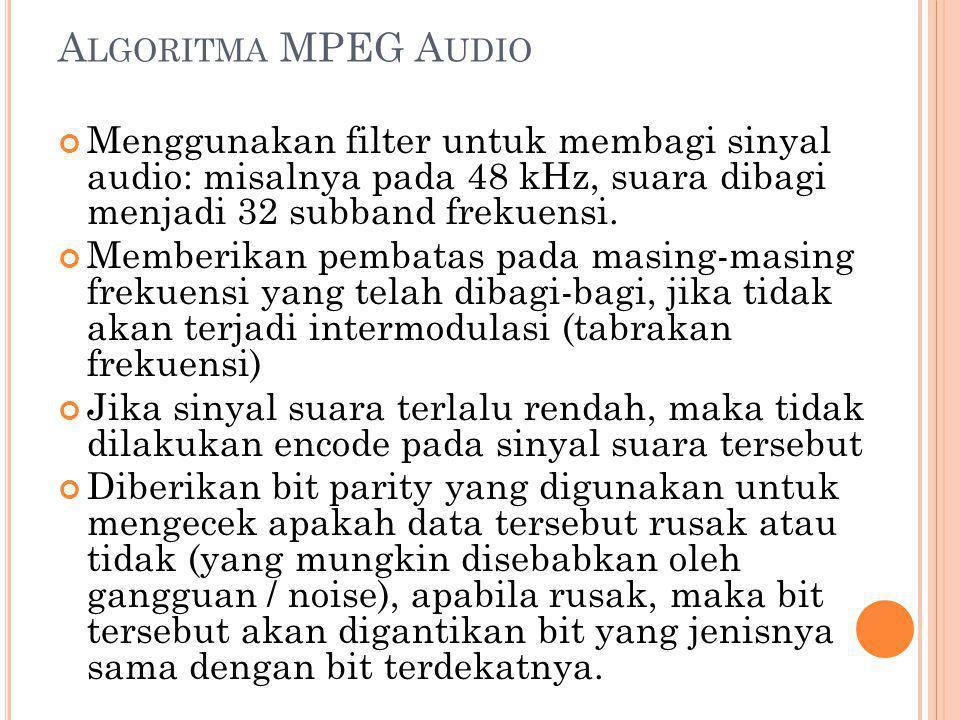 A LGORITMA MPEG A UDIO Menggunakan filter untuk membagi sinyal audio: misalnya pada 48 kHz, suara dibagi menjadi 32 subband frekuensi. Memberikan pemb