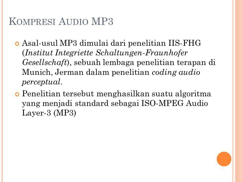 K OMPRESI A UDIO MP3 Asal-usul MP3 dimulai dari penelitian IIS-FHG ( Institut Integriette Schaltungen-Fraunhofer Gesellschaft ), sebuah lembaga peneli