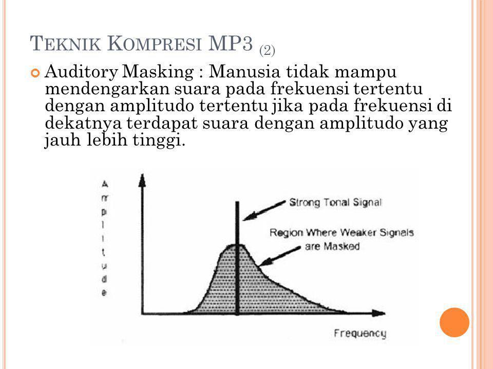 T EKNIK K OMPRESI MP3 (2) Auditory Masking : Manusia tidak mampu mendengarkan suara pada frekuensi tertentu dengan amplitudo tertentu jika pada frekue