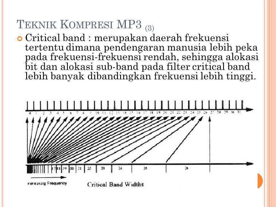 T EKNIK K OMPRESI MP3 (3) Critical band : merupakan daerah frekuensi tertentu dimana pendengaran manusia lebih peka pada frekuensi-frekuensi rendah, s