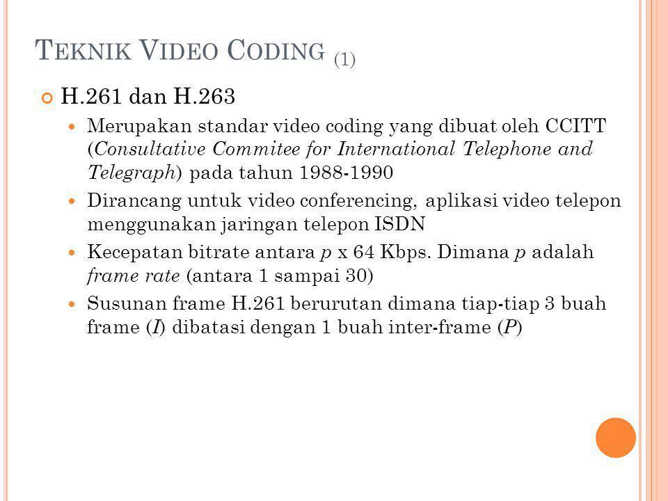 T EKNIK V IDEO C ODING (1) H.261 dan H.263 Merupakan standar video coding yang dibuat oleh CCITT ( Consultative Commitee for International Telephone a