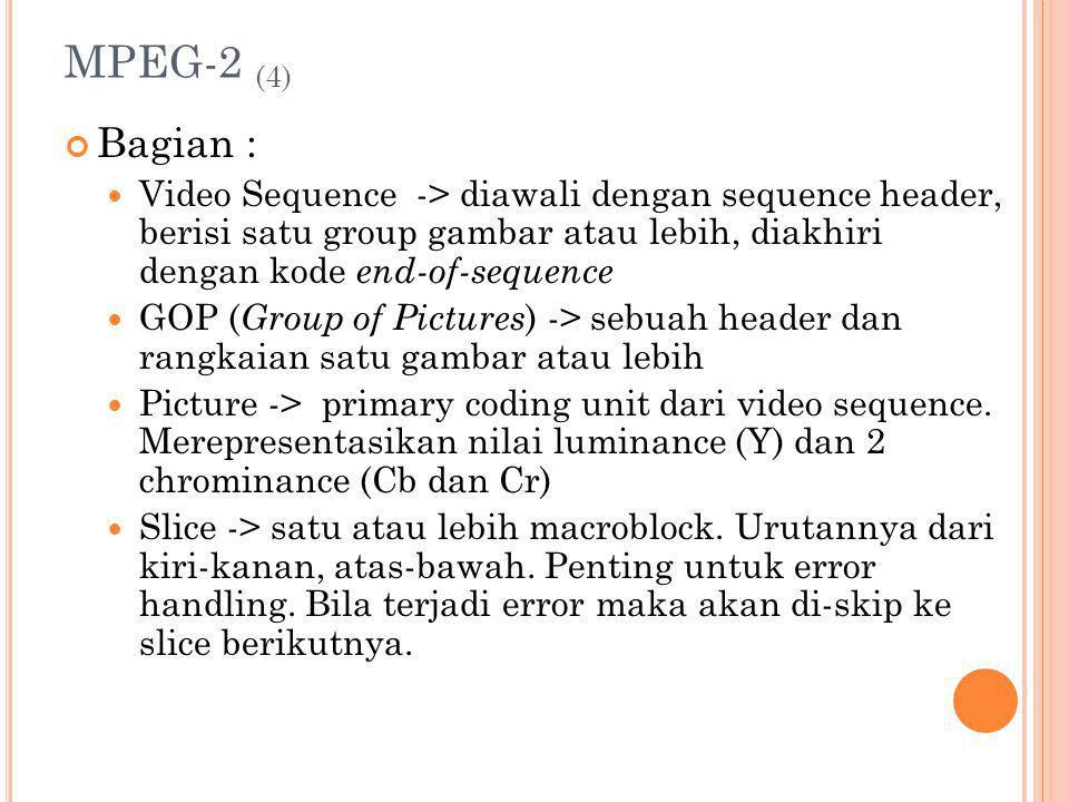 MPEG-2 (4) Bagian : Video Sequence -> diawali dengan sequence header, berisi satu group gambar atau lebih, diakhiri dengan kode end-of-sequence GOP (