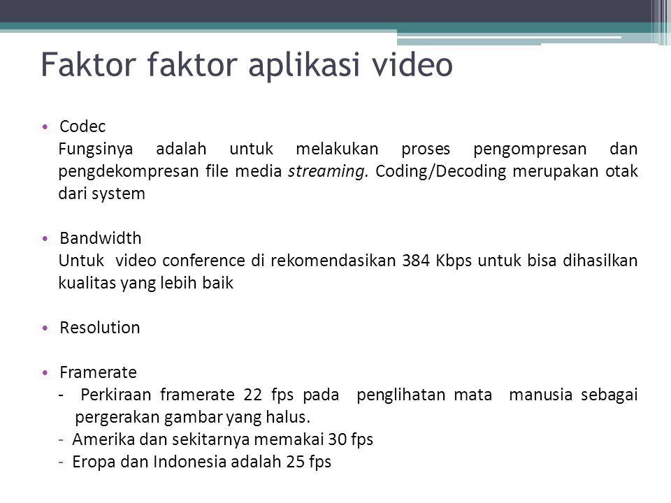 Faktor faktor aplikasi video Codec Fungsinya adalah untuk melakukan proses pengompresan dan pengdekompresan file media streaming. Coding/Decoding meru