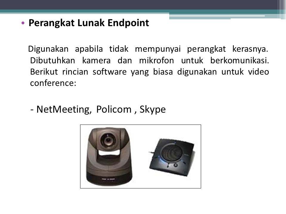 Perangkat Lunak Endpoint Digunakan apabila tidak mempunyai perangkat kerasnya. Dibutuhkan kamera dan mikrofon untuk berkomunikasi. Berikut rincian sof