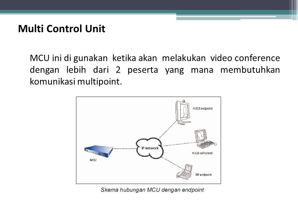 Multi Control Unit MCU ini di gunakan ketika akan melakukan video conference dengan lebih dari 2 peserta yang mana membutuhkan komunikasi multipoint.