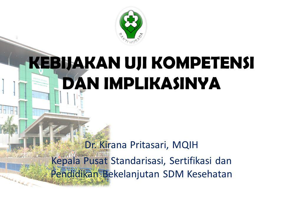 KEBIJAKAN UJI KOMPETENSI DAN IMPLIKASINYA Dr. Kirana Pritasari, MQIH Kepala Pusat Standarisasi, Sertifikasi dan Pendidikan Bekelanjutan SDM Kesehatan