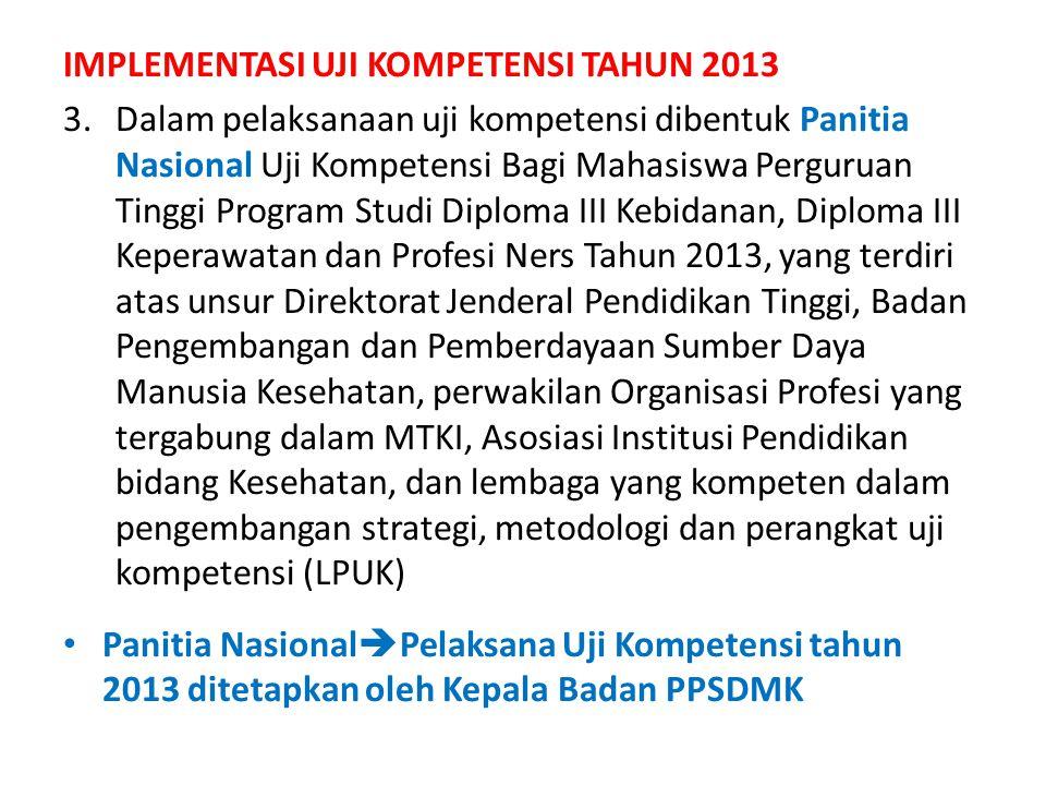 IMPLEMENTASI UJI KOMPETENSI TAHUN 2013 3.Dalam pelaksanaan uji kompetensi dibentuk Panitia Nasional Uji Kompetensi Bagi Mahasiswa Perguruan Tinggi Pro
