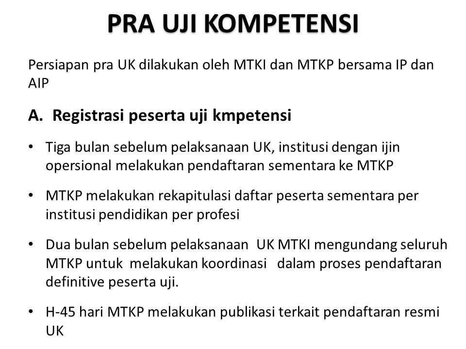 PRA UJI KOMPETENSI Persiapan pra UK dilakukan oleh MTKI dan MTKP bersama IP dan AIP A. Registrasi peserta uji kmpetensi Tiga bulan sebelum pelaksanaan