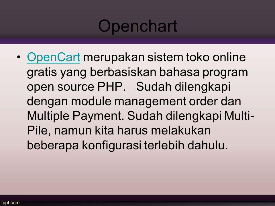 Openchart OpenCart merupakan sistem toko online gratis yang berbasiskan bahasa program open source PHP. Sudah dilengkapi dengan module management orde
