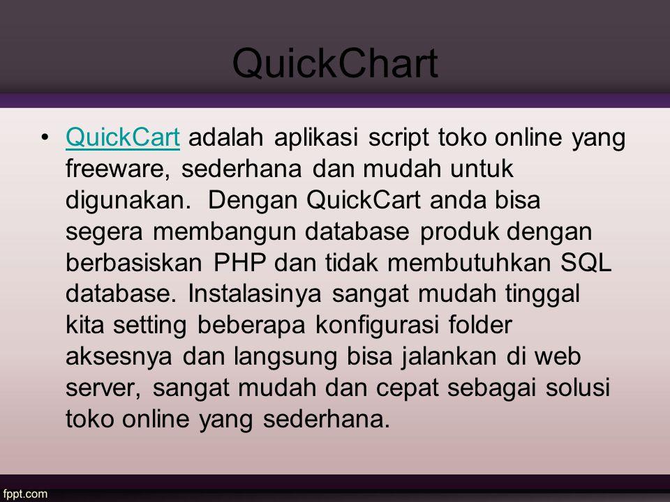 QuickChart QuickCart adalah aplikasi script toko online yang freeware, sederhana dan mudah untuk digunakan. Dengan QuickCart anda bisa segera membangu