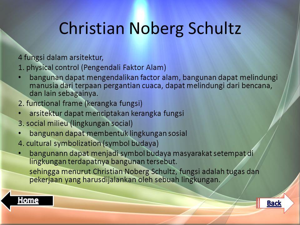 Christian Noberg Schultz 4 fungsi dalam arsitektur, 1. physical control (Pengendali Faktor Alam) bangunan dapat mengendalikan factor alam, bangunan da