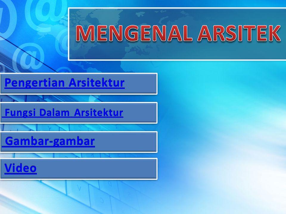 Pengertian Arsitektur Pengertian Arsitektur Fungsi Dalam Arsitektur Fungsi Dalam Arsitektur Gambar-gambar Gambar-gambar Video