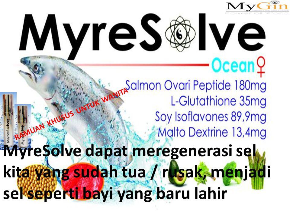 MyreSolve dapat meregenerasi sel kita yang sudah tua / rusak, menjadi sel seperti bayi yang baru lahir RAMUAN KHUSUS UNTUK WANITA