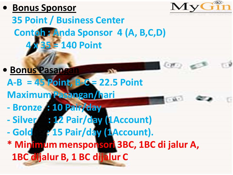 Bonus Sponsor 35 Point / Business Center Contoh : Anda Sponsor 4 (A, B,C,D) 4 x 35 = 140 Point Bonus Pasangan A-B = 45 Point, B-C = 22.5 Point Maximum Pasangan/hari - Bronze : 10 Pair/day - Silver : 12 Pair/day (1Account) - Gold : 15 Pair/day (1Account).
