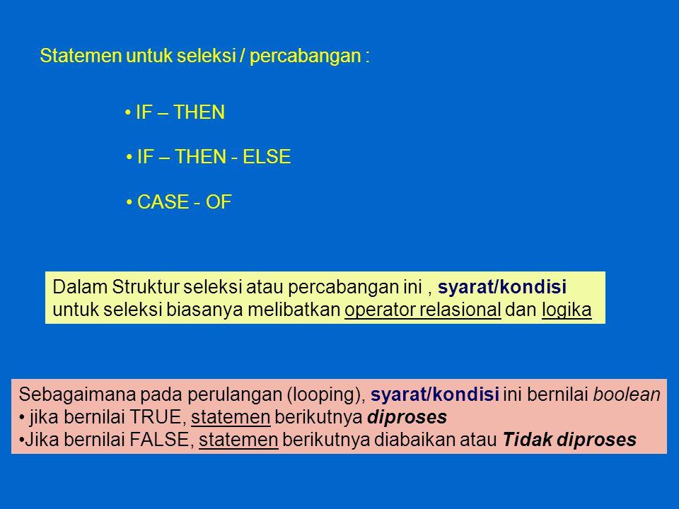 IF-THEN Syntax : IFSyarat/kondisiTHENStatemen ; true Diproses/dikerjakan false Diabaikan/tidak diproses Kondisi .