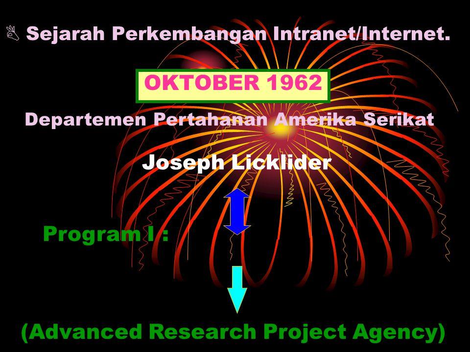  Sejarah Perkembangan Intranet/Internet. OKTOBER 1962 ARPA (Advanced Research Project Agency) Program I : Departemen Pertahanan Amerika Serikat Josep