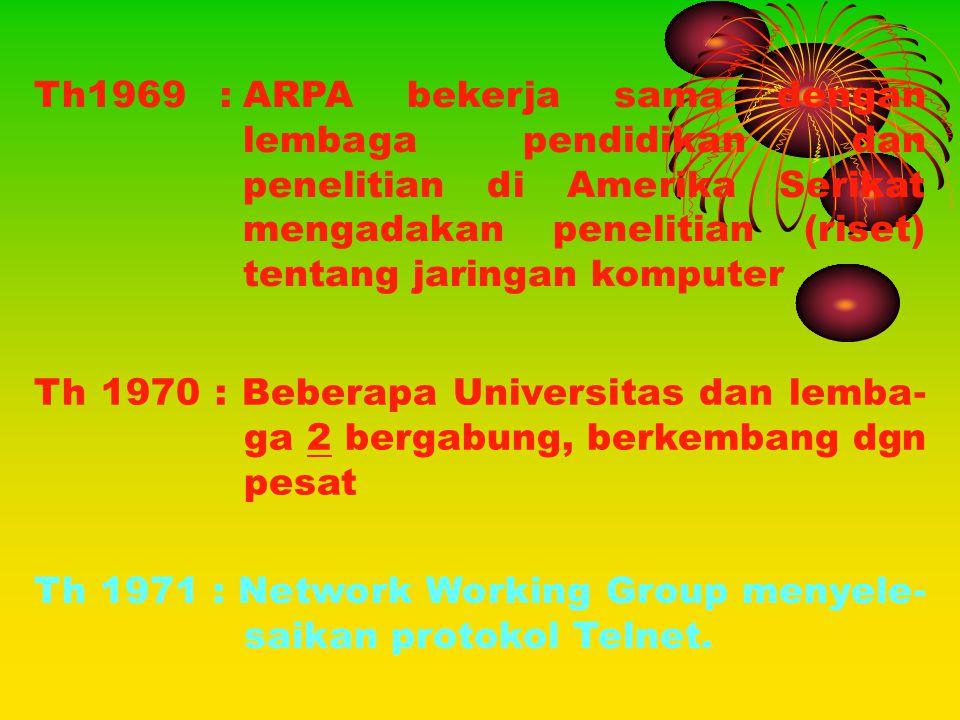 Th 1970 : Beberapa Universitas dan lemba- ga 2 bergabung, berkembang dgn pesat Th 1971 : Network Working Group menyele- saikan protokol Telnet. Th1969