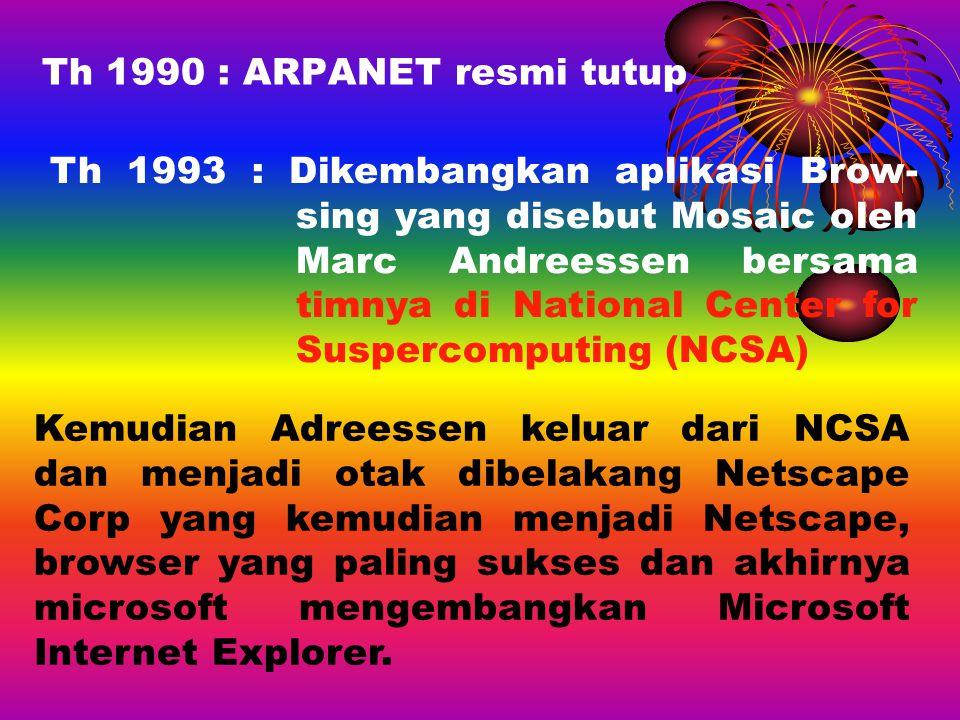 Th 1990 : ARPANET resmi tutup Th 1993 : Dikembangkan aplikasi Brow- sing yang disebut Mosaic oleh Marc Andreessen bersama timnya di National Center fo