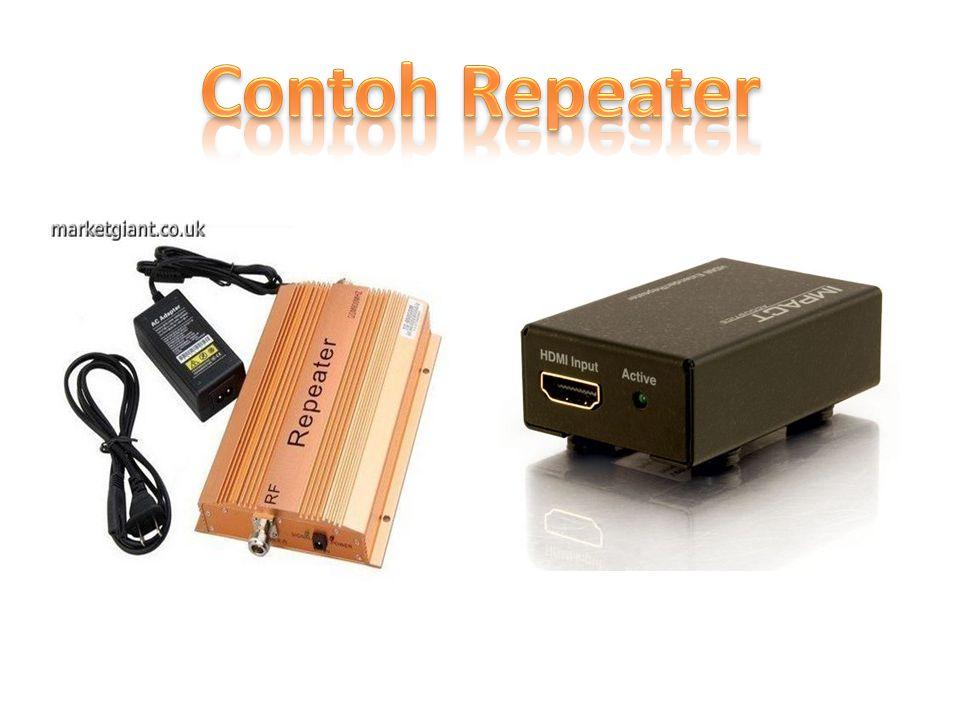 Repeater merupakan perangkat yang digunakan untuk menerima sinyal dan memancarkan kembali sinyal tersebut dengan kekuatan yang sama dengan sinyal asli.