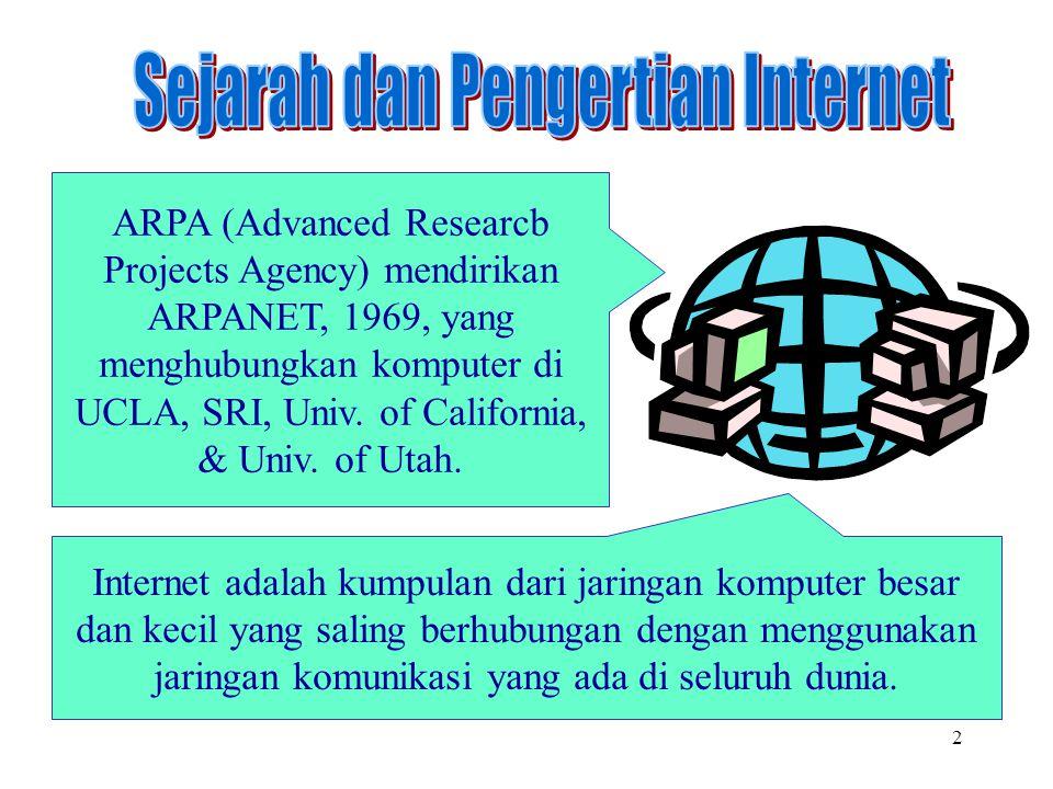 2 Internet adalah kumpulan dari jaringan komputer besar dan kecil yang saling berhubungan dengan menggunakan jaringan komunikasi yang ada di seluruh d