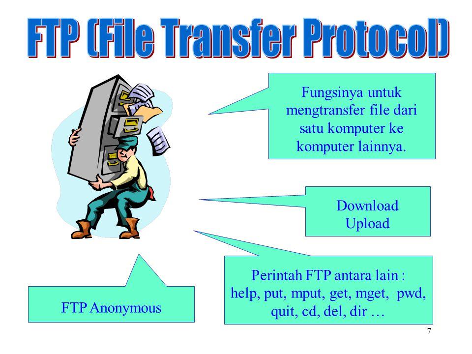 7 Fungsinya untuk mengtransfer file dari satu komputer ke komputer lainnya. Download Upload FTP Anonymous Perintah FTP antara lain : help, put, mput,