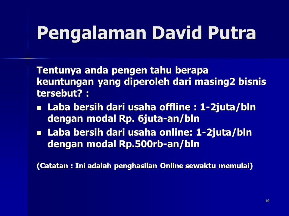 9 Pengalaman David Putra KRITERIAUSAHA OFFLINEUSAHA ONLINE Sewa Toko/Sewa Website&Hosting Rp. 20-30 juta/tahun (rata2 Rp. 2,5 juta/bln) Rp. 150-300rb/