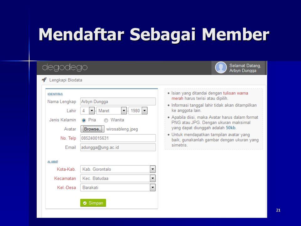 Mendaftar Sebagai Member Wahyu Pramusinto, S.Komhttp://away.web.id - wahyupramusinto@gmail.com 20