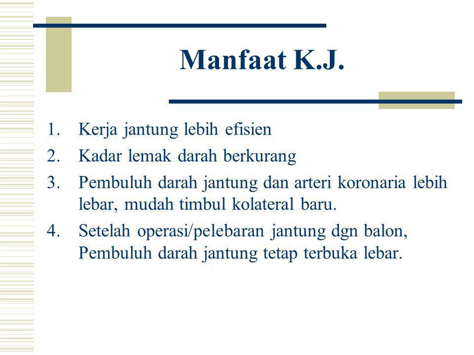 Manfaat K.J. 1.Kerja jantung lebih efisien 2.Kadar lemak darah berkurang 3.Pembuluh darah jantung dan arteri koronaria lebih lebar, mudah timbul kolat