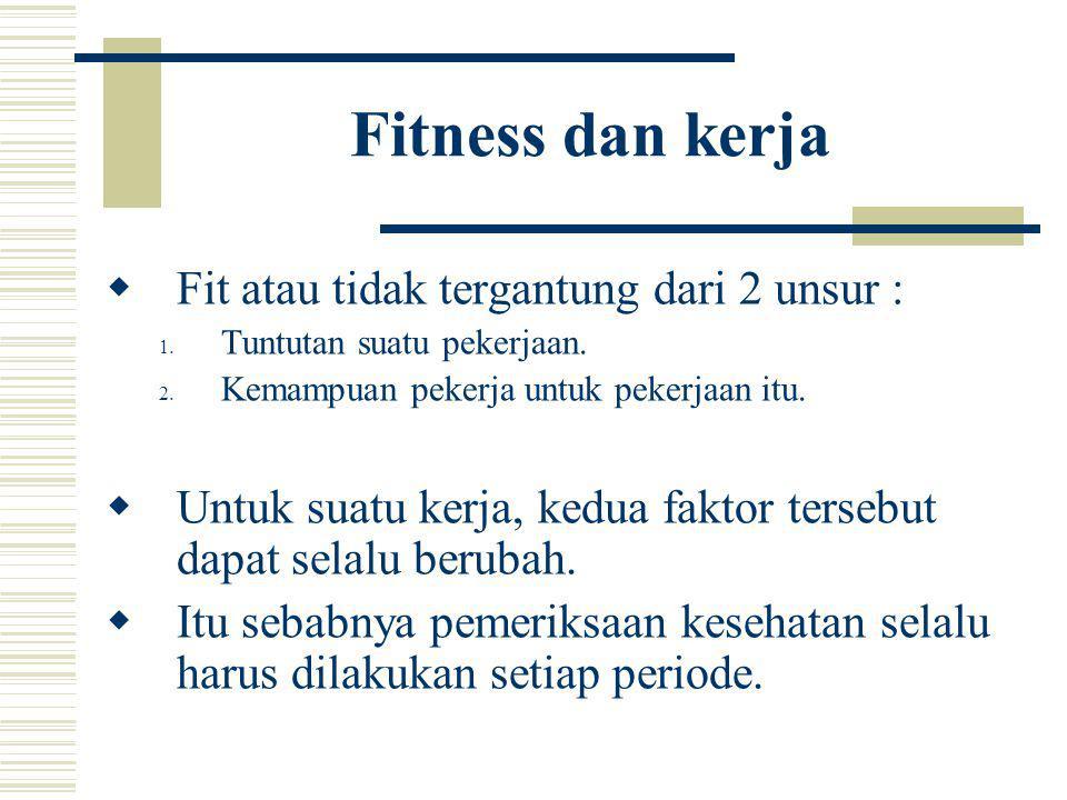 Fitness dan kerja  Fit atau tidak tergantung dari 2 unsur : 1. Tuntutan suatu pekerjaan. 2. Kemampuan pekerja untuk pekerjaan itu.  Untuk suatu kerj